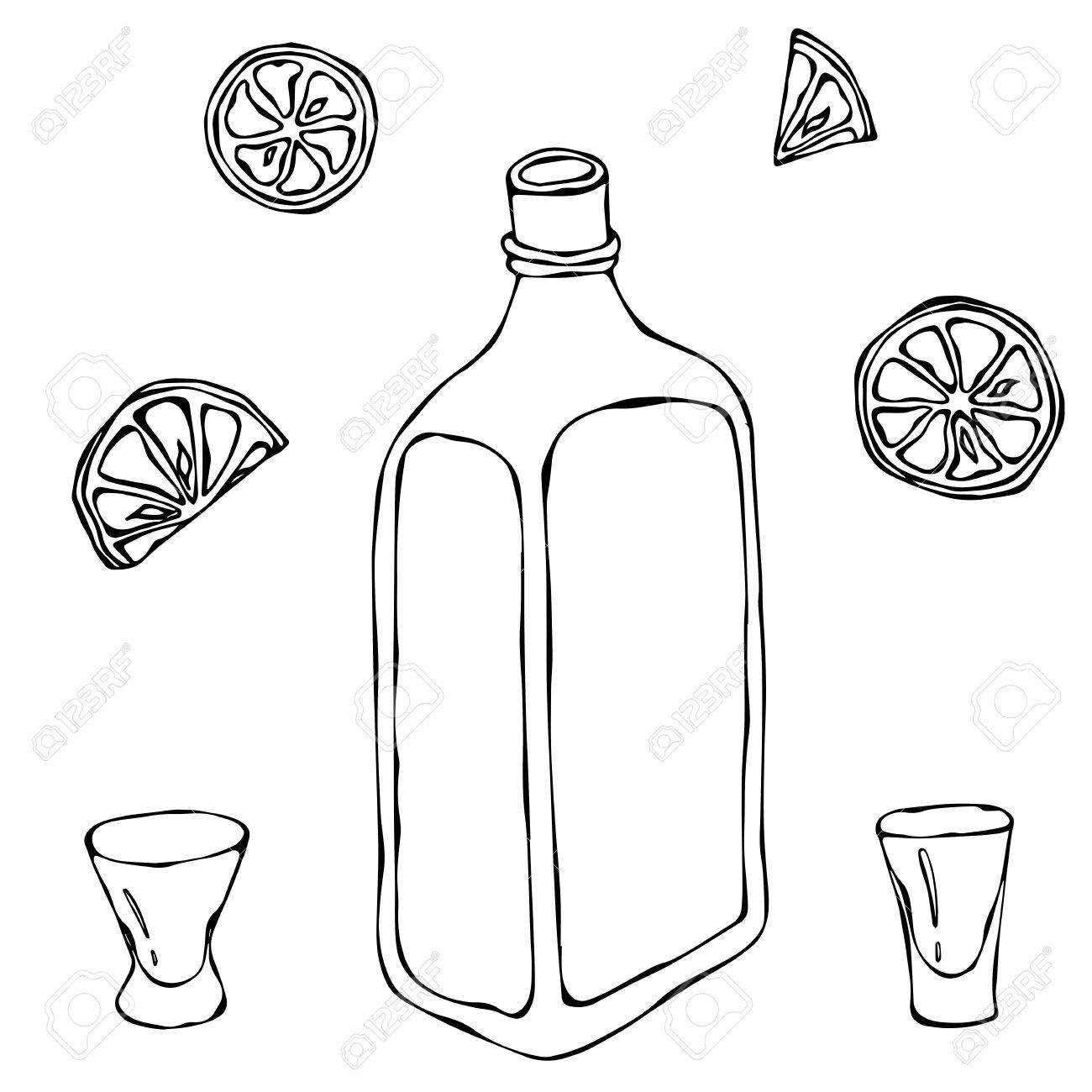 1300x1300 Whiskey Cognac Or Brandy Bottle And Shot Glass Sketch. With Citrus
