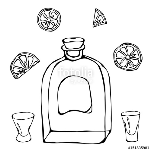 500x500 Whiskey Cognac Or Brandy Bottle And Shot Glass Sketch. With Citrus