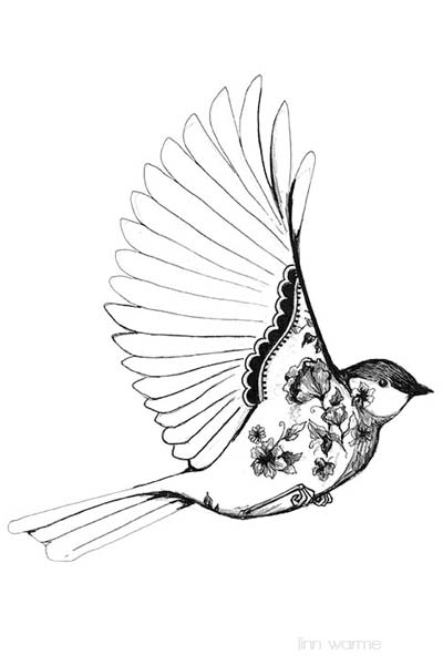400x600 Linn Warme Black And White Bird Drawing Art, Drawings