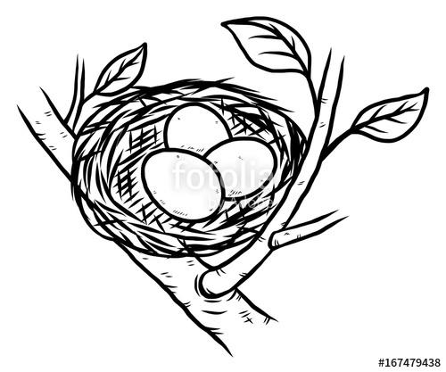 500x417 Bird Nest And Three Eggs Cartoon Vector And Illustration, Black