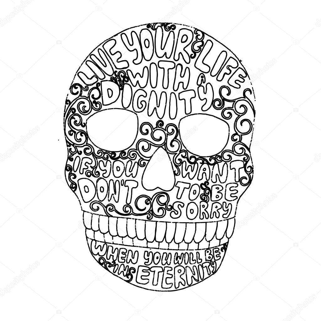 1024x1024 Decorative Skull Picture Stock Vector