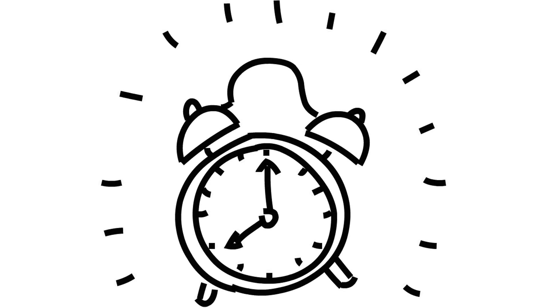 1920x1080 Man Sketching Vintage Alarm Clock On Whiteboard Background