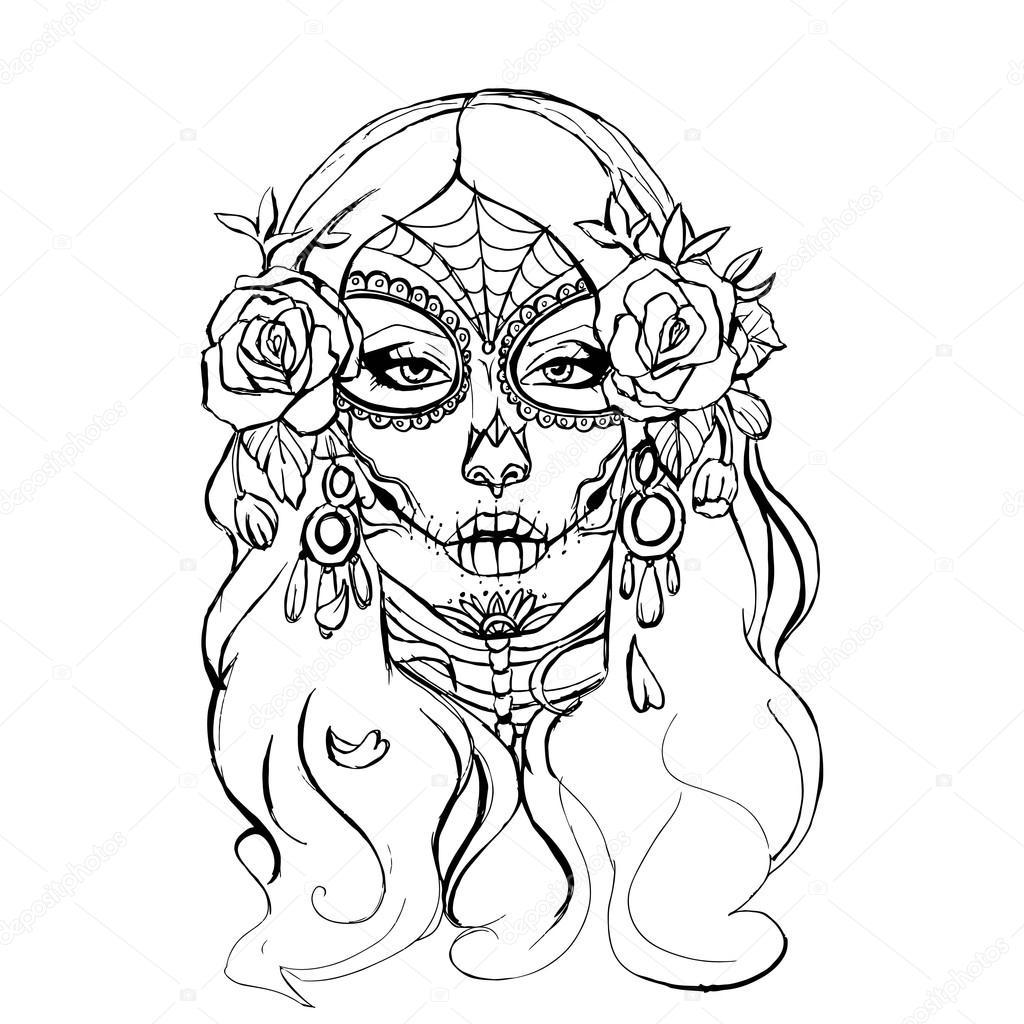 1024x1024 Skull Girl Illustration Stock Vector