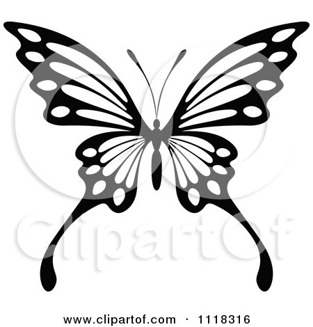 450x470 Clipart Of A Black And White Butterfly 8