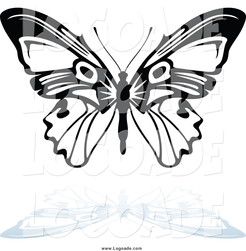 1024x1044 Clipart Of A Black And White Butterfly Flying And Shadow Logo By