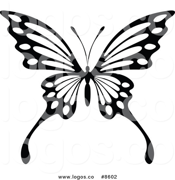 600x620 Royalty Free Clip Art Vector Logo Of A Black And White Butterfly