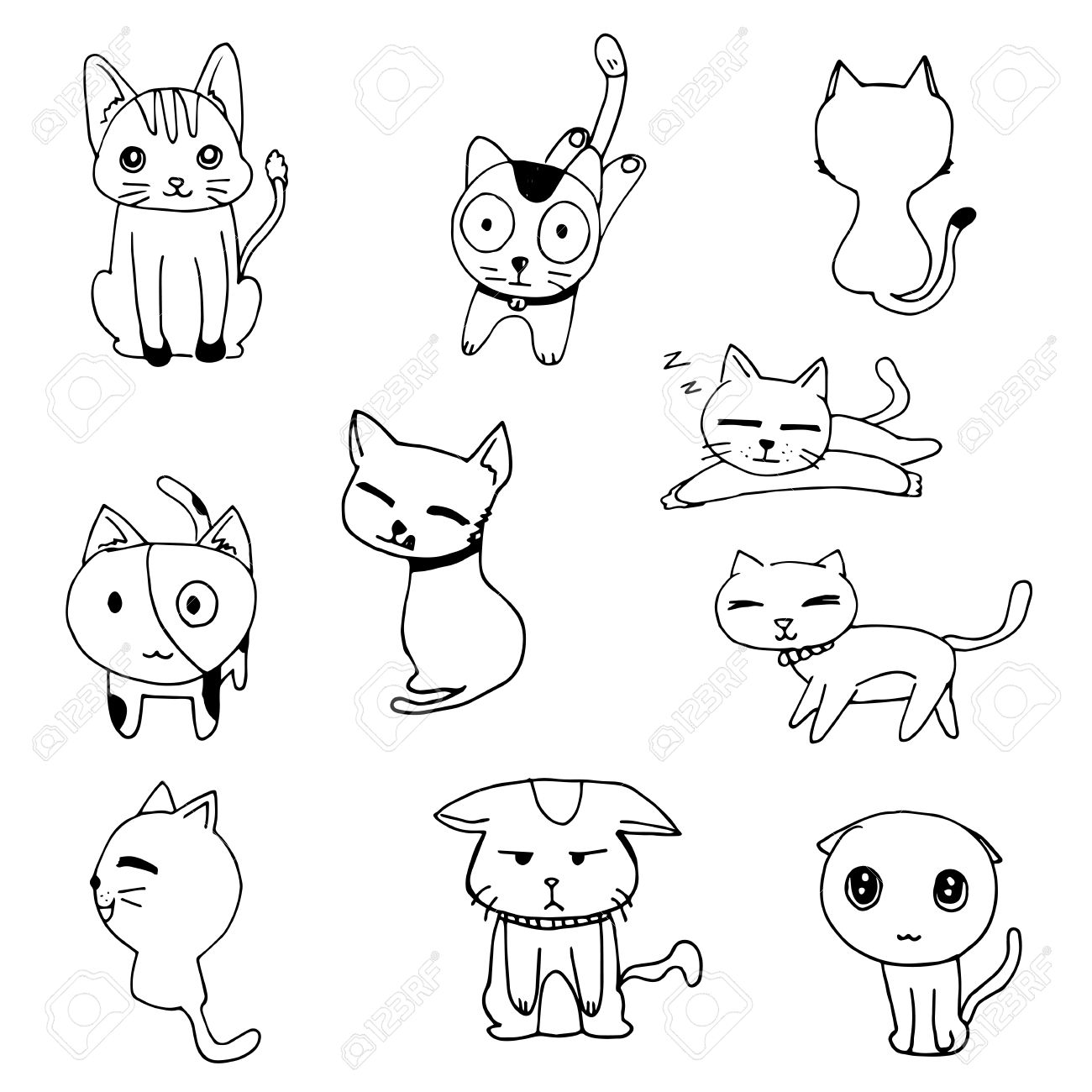 1300x1300 Cat Doodle Drawing A Vector On White Background, Set Of Black