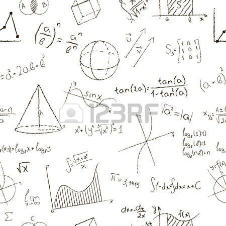450x450 Chalk Drawing Effect. Math Formulas And Graphs On White Background