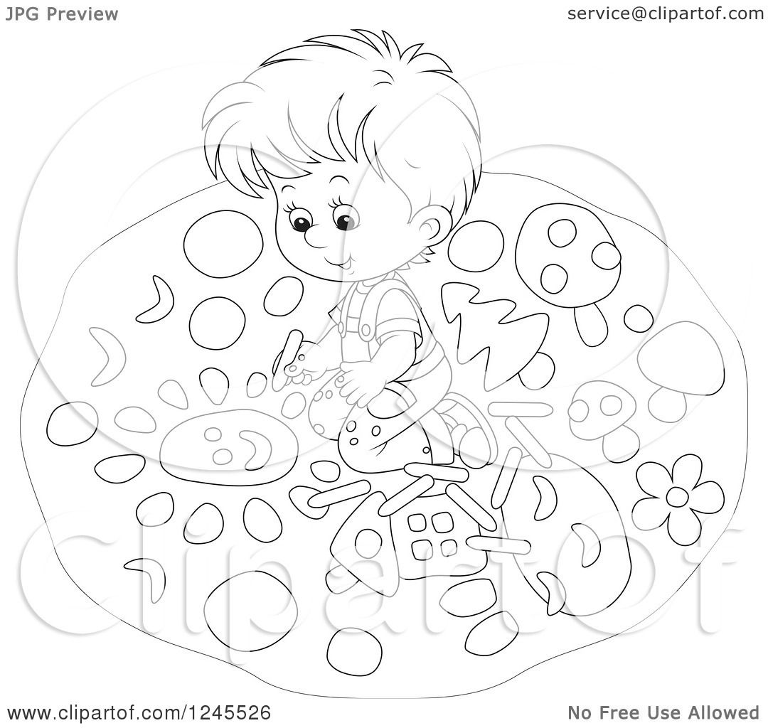 1080x1024 Clipart Of A Black And White Boy Drawing With Chalk On A Sidewalk
