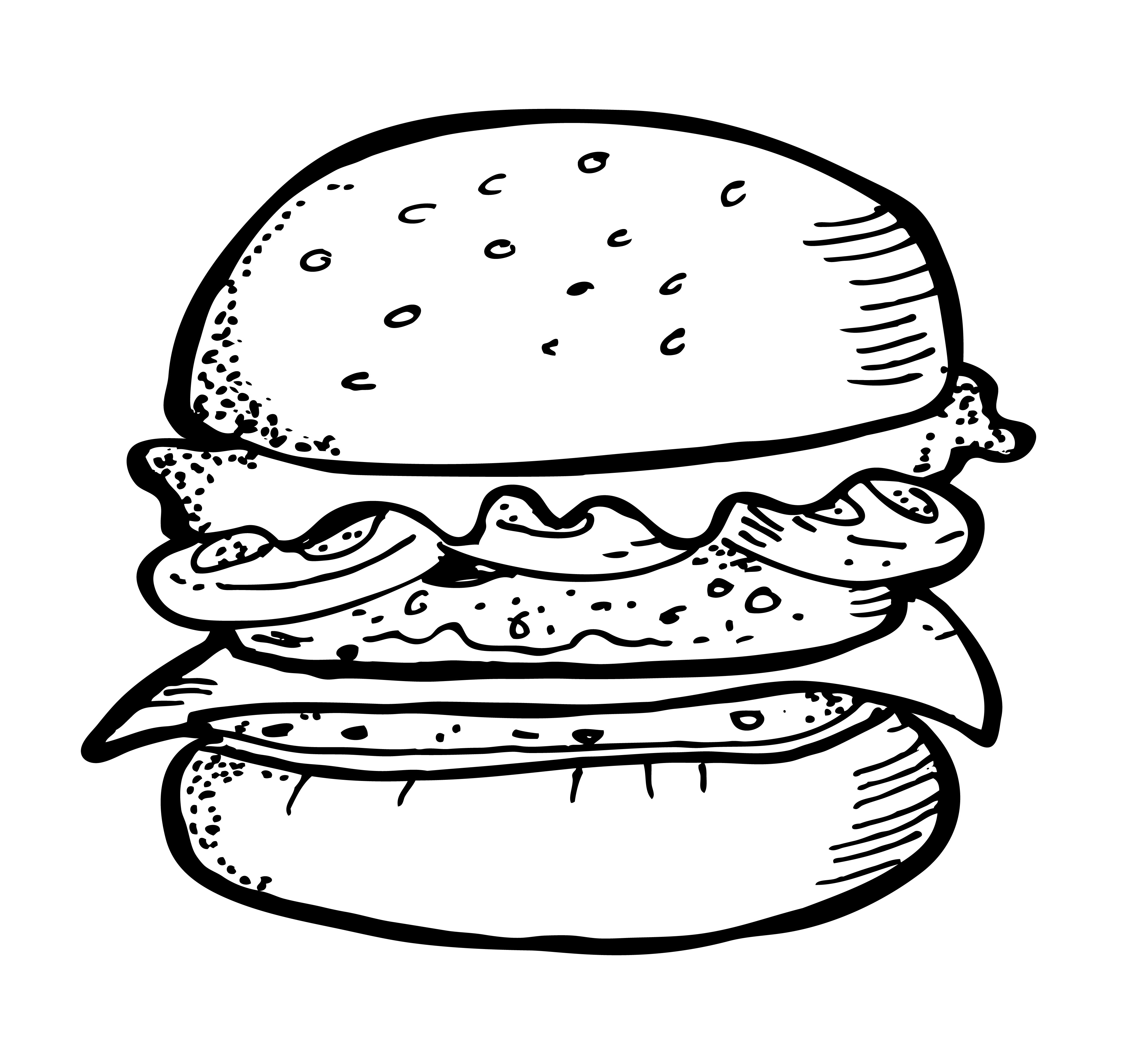 4000x3740 Burger And Fries Drawing Burger And Fries Drawing Delux Drawings