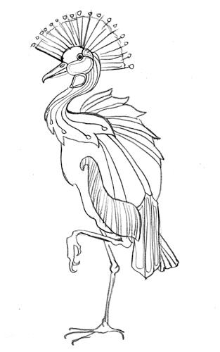 313x500 Marika Makes Art Black Crowned Crane Sketch