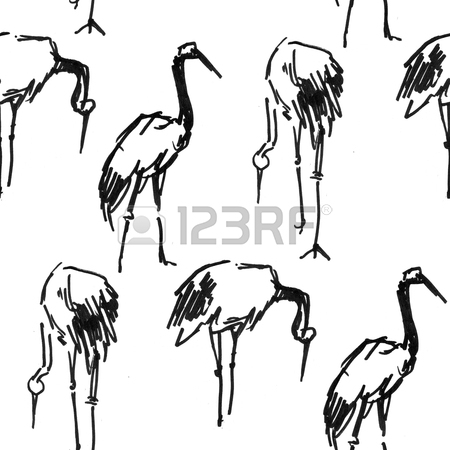 450x450 Stork Heron Crane Pen Sketch Seamless Pattern Stock Photo, Picture