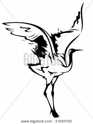 352x470 White Crane Japanese Drawing Create A Lightbox Cranes
