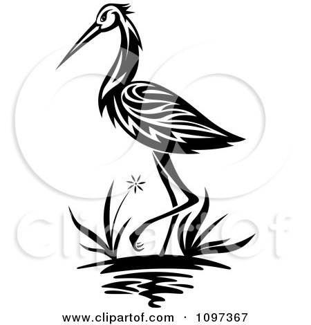 450x470 Clipart Black And White Crane Wading In A Marsh