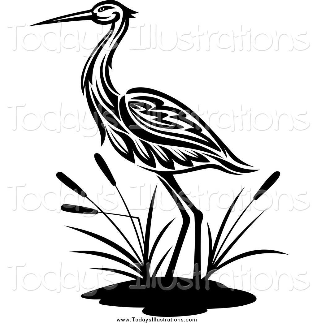 1024x1044 Clipart Of A Black And White Crane By Cattails By Vector Tradition