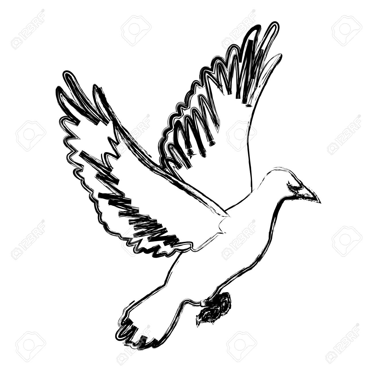 1300x1300 Flying White Dove On White Background As Symbol Of Peace Vector