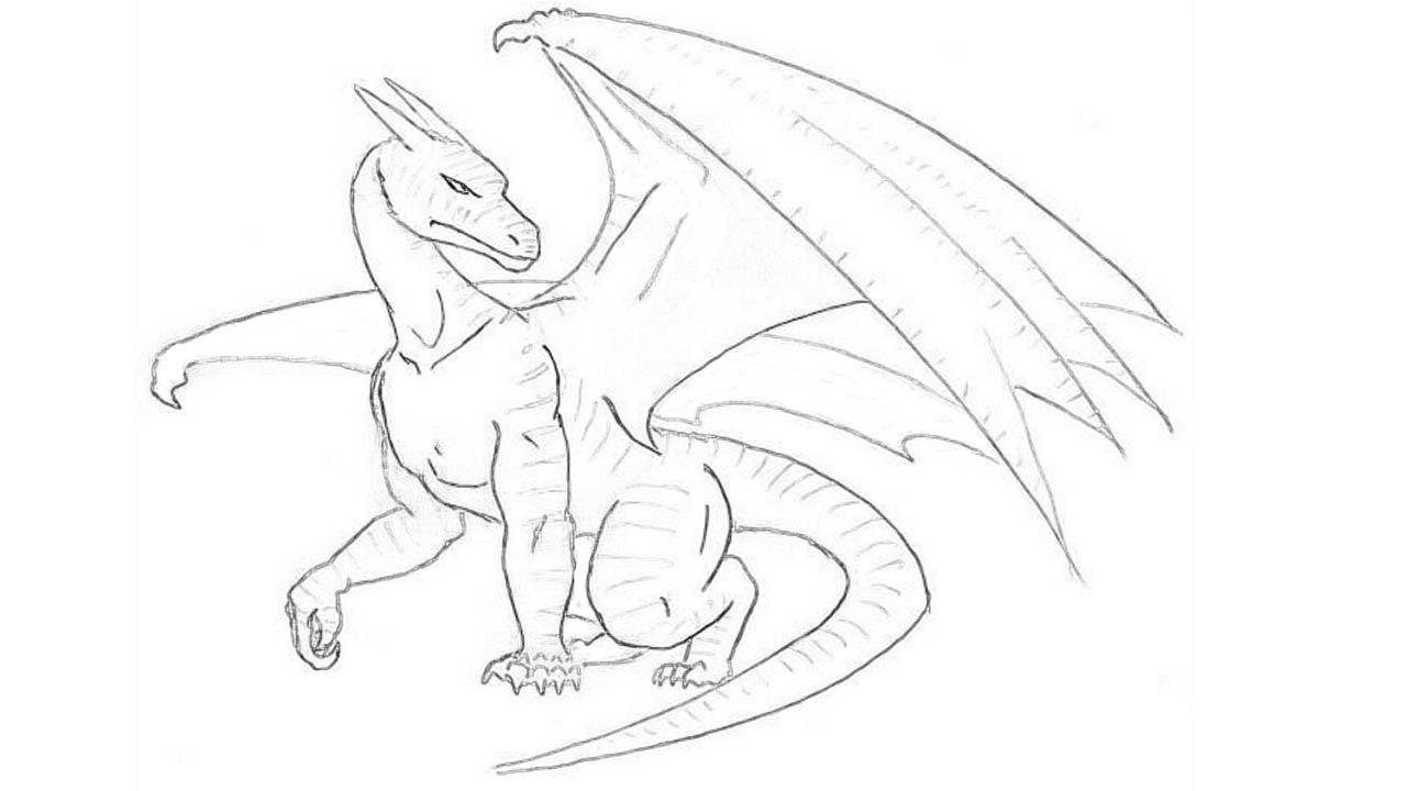 1280x720 Dragon Easy Drawing How To Draw A Dragon Stepstep Draw A Dragon