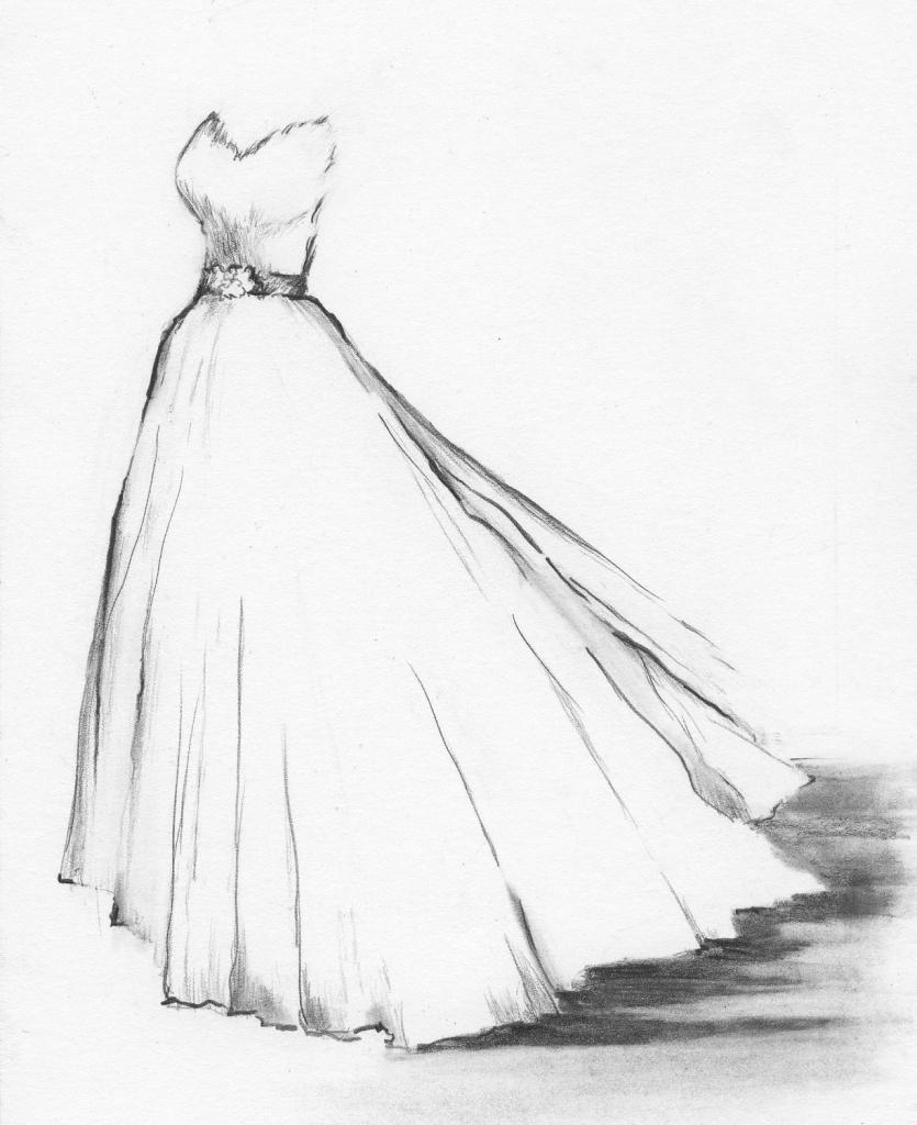 835x1024 Girl With Beautiful Dress Pencil Drawing