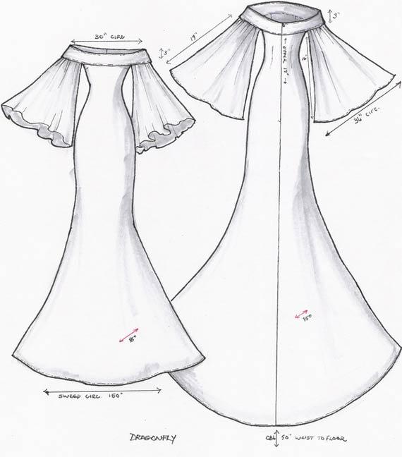 570x648 Goes Wedding New Feminine White Bridal Gown Sketch