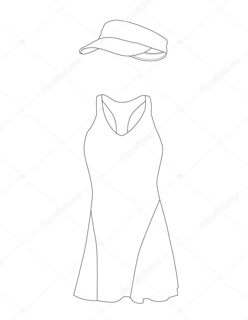 791x1023 Outline Drawing Tennis Dress Stock Photo Viktorijareut