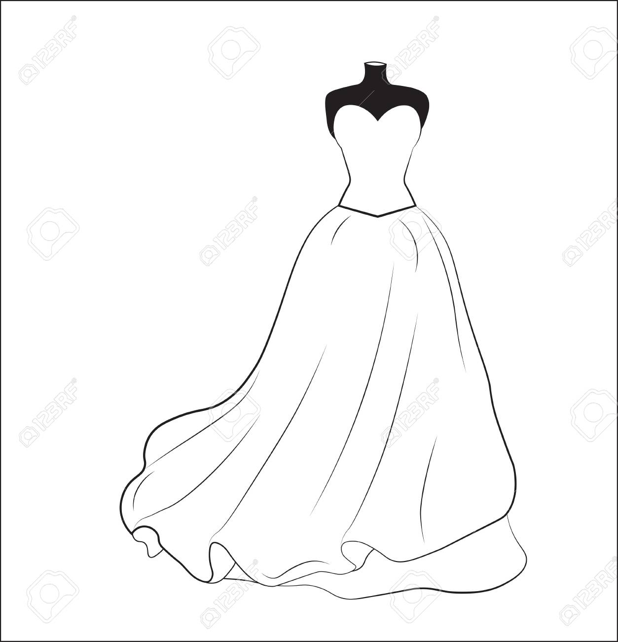 1253x1300 Sketch Of A White Wedding Dress On A Dummy, A Silhouette Royalty