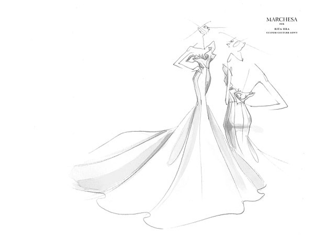 1000x750 Sketch Of Custom Made Marchesa Mermaid Style Evening Gown For Rita