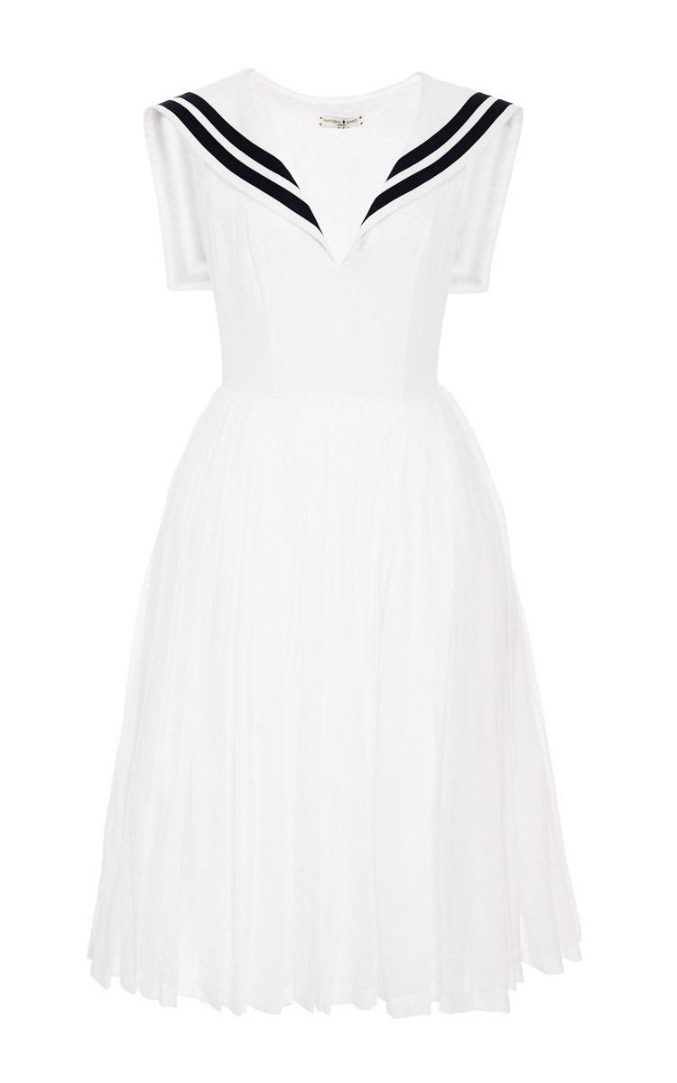 750x1200 White Muslin Dress With Navy Collar By Natasha Zinko Moda Operandi