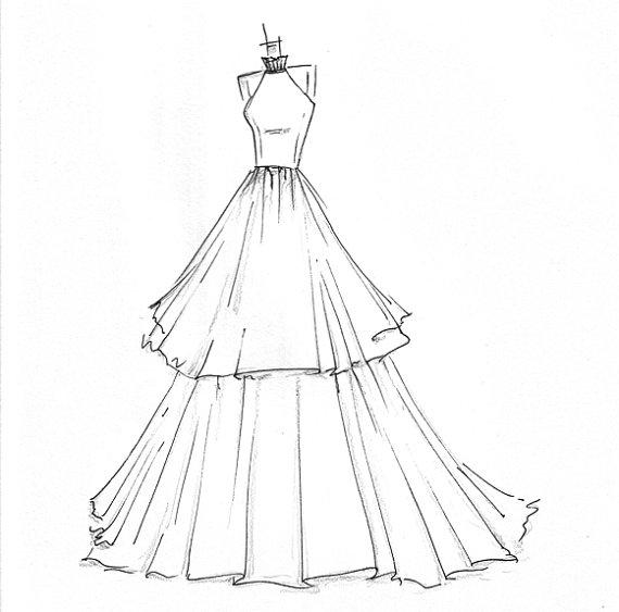 570x563 An Urban Cottage Wedding Wednesday {On Thursday} Dress Sketches