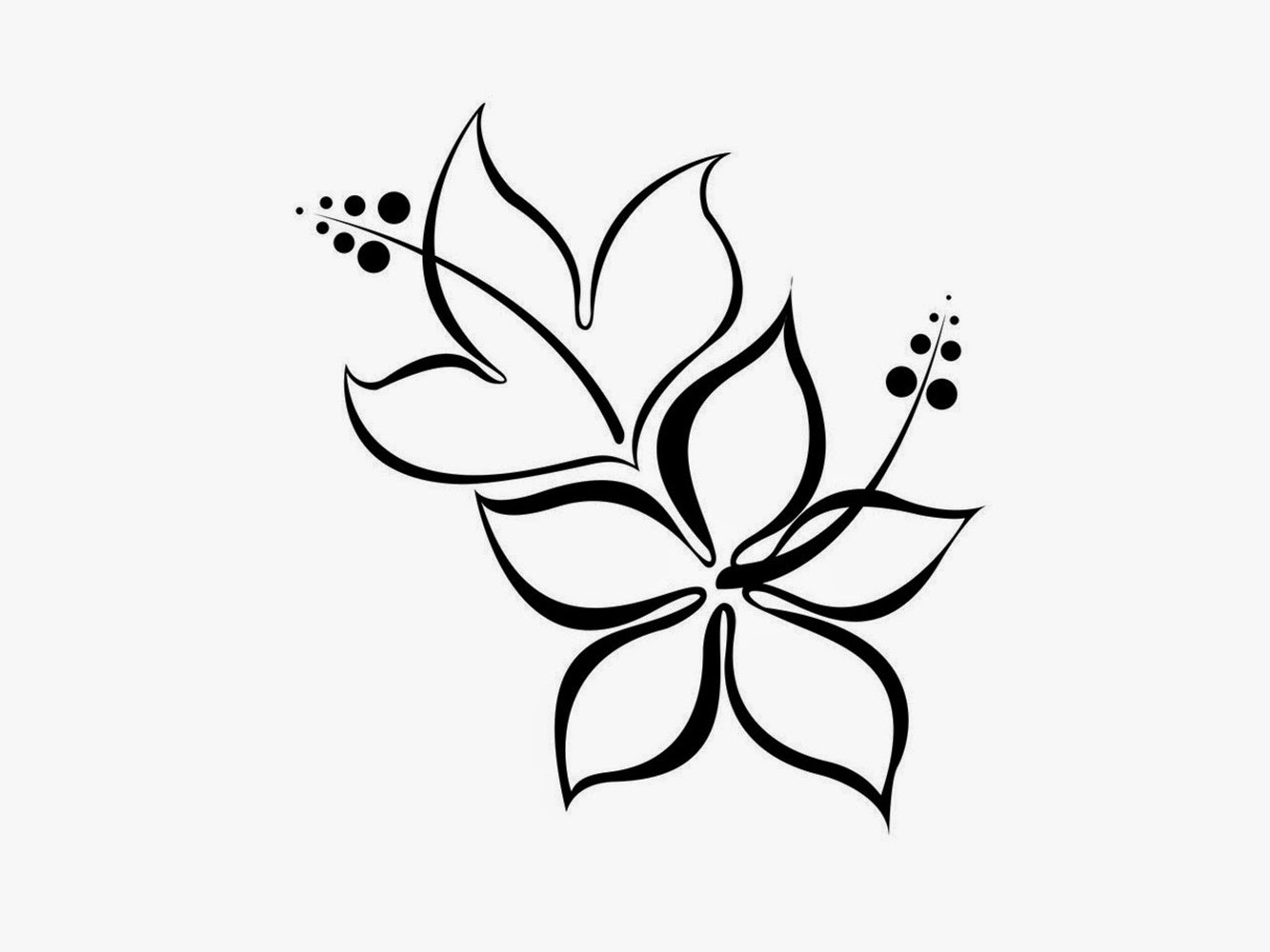 1333x1000 Simple Flower Designs Pencil Drawing Black And White Flower Design
