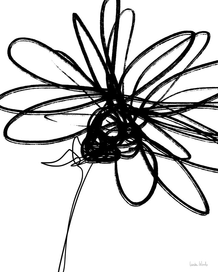 720x900 Black And White Sketch Flower 4 Art By Linda Woods Drawing By