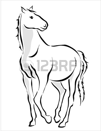 347x450 Drawing Of A White Horse Royalty Free Cliparts, Vectors, And Stock