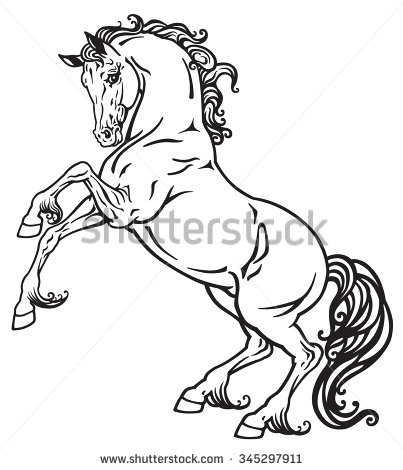 403x470 Rearing Horse Black And White Outline Image
