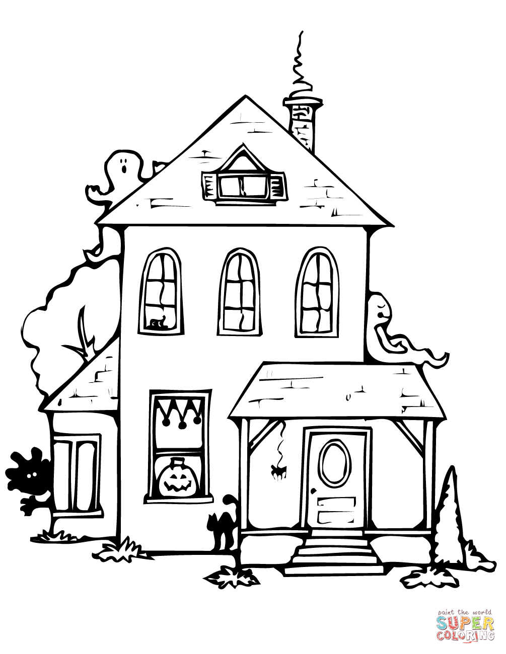 1005x1300 Haunted House Coloring Page Free Printable Coloring Pages