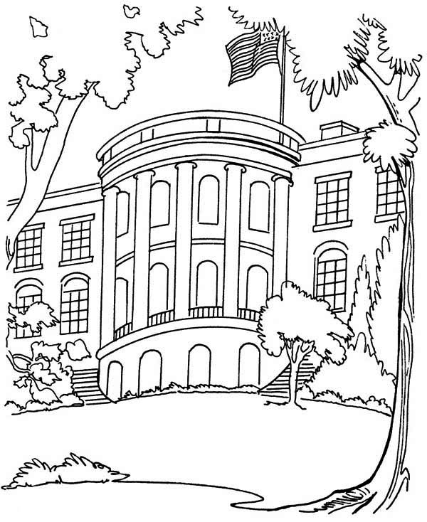 600x734 The White House In Houses Coloring Page