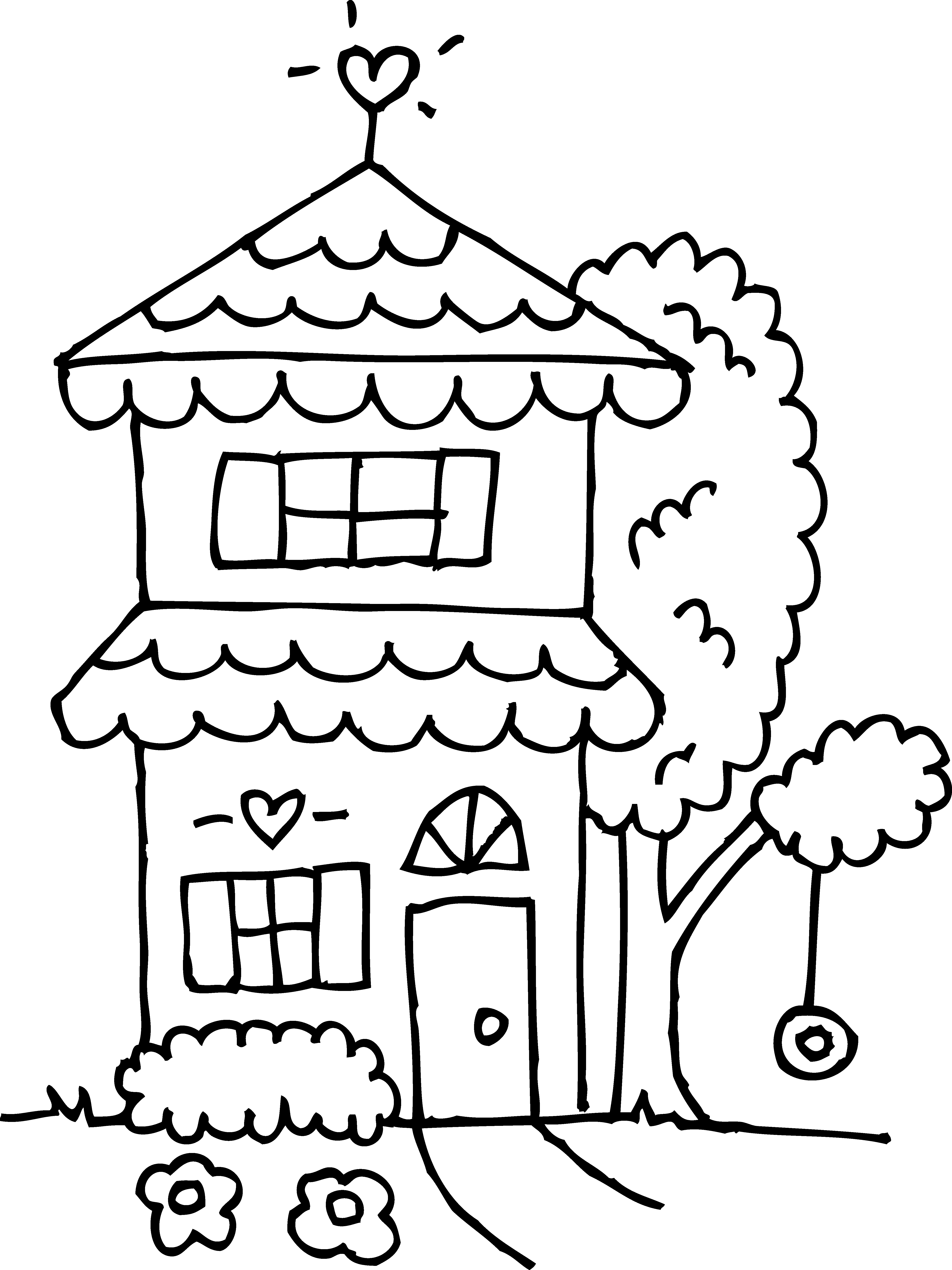 4844x6458 Two Story House Coloring Page