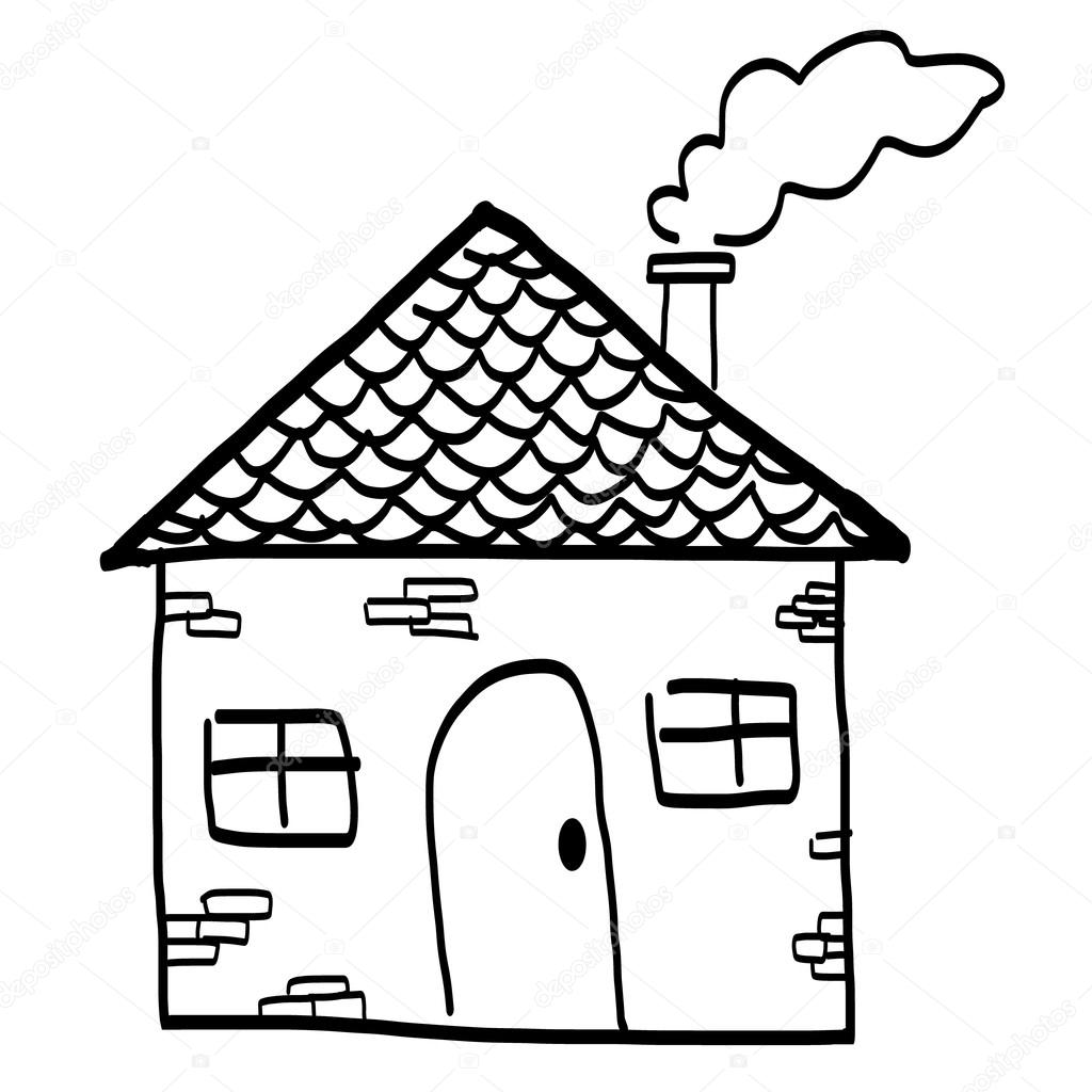 1024x1024 Hand Drawn House In A Sketch Cartoon Style. Stock Vector