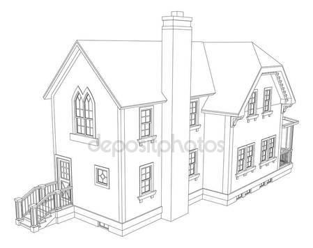 449x356 Old House In Victorian Style. Illustration On White Background