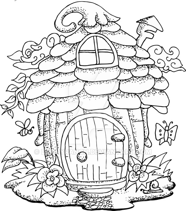600x681 Illustration Of A Fairy House Hand Drawn By Dennyranch