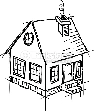 381x451 Black And White Sketch Of Small House Vector Art Thinkstock
