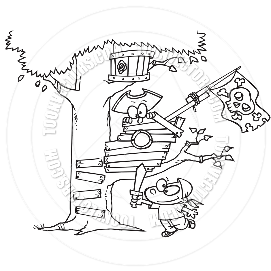 940x940 Cartoon Pirate Kids In Tree House (Black And White Line Art) By