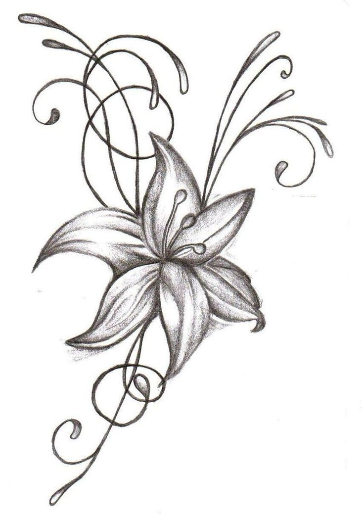 736x1049 Grey And White Lily Flower Tattoo Design