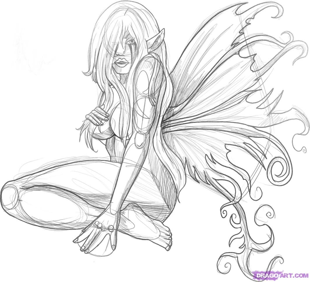 1064x968 Black And White Fairy Pictures Faces Dark Fairy Tattoo Karin