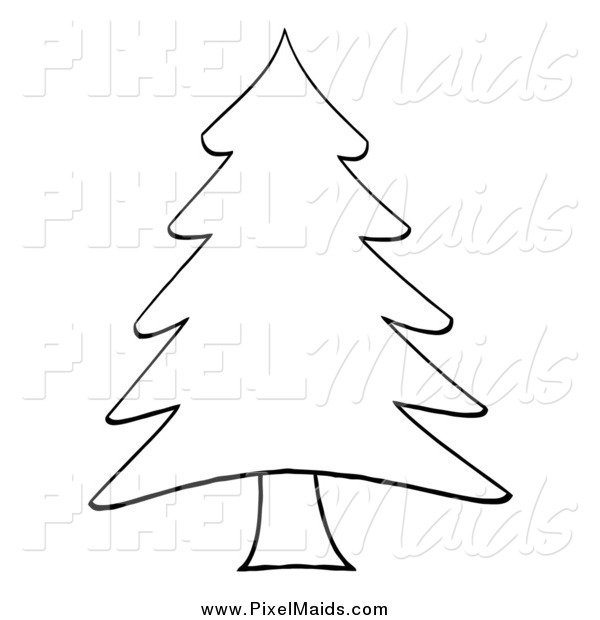 600x620 Clipart Of A Sketched Outlined Pine Tree By Hit Toon