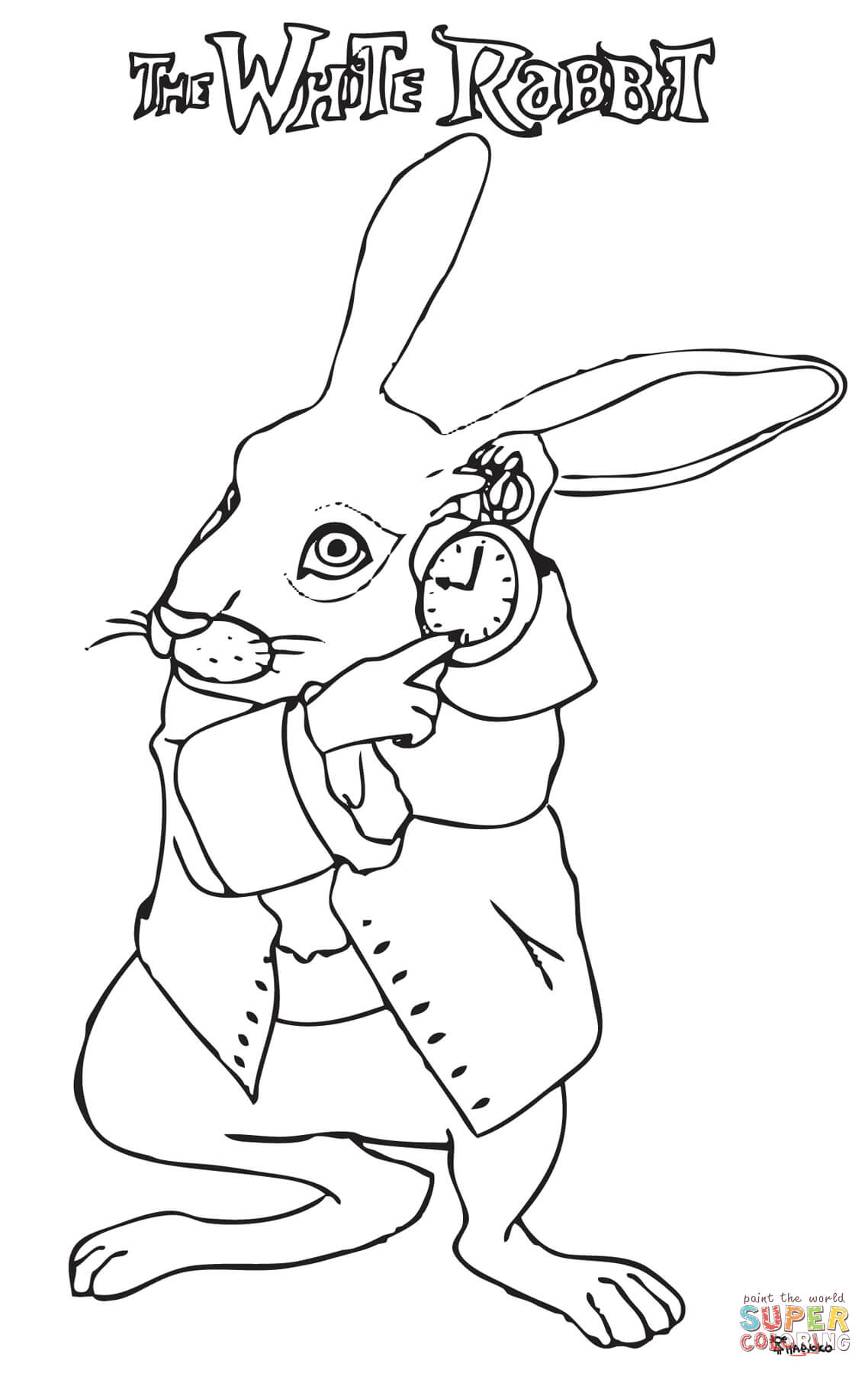1138x1800 The White Rabbit In A Hurry Coloring Page Free Printable