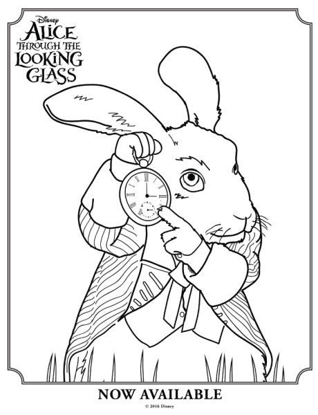 460x600 Alice Through The Looking Glass White Rabbit Colouring Page 2