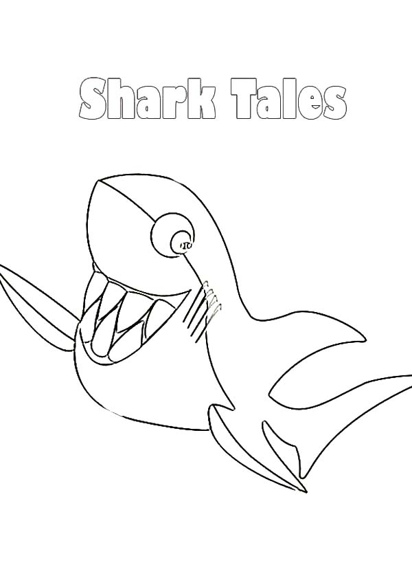 600x825 Shark Tale Smiling Great White Coloring Pages Batch