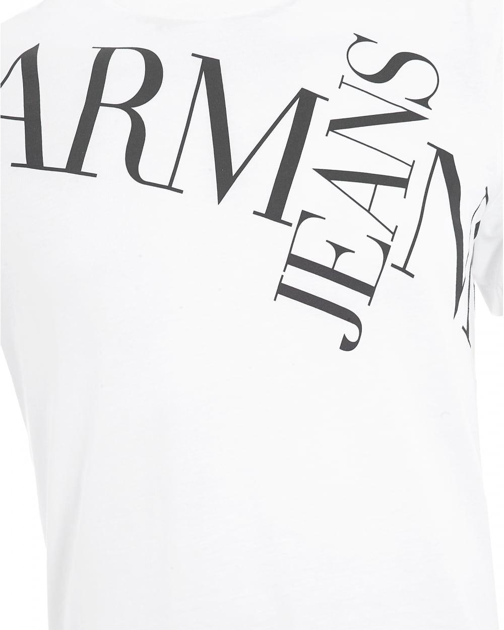 1000x1250 Armani Jeans Mens Letter Cross T Shirt, Letter Logo White Tee
