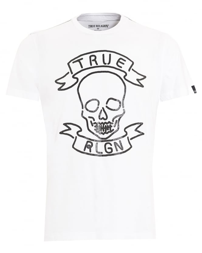 665x831 True Religion Jeans Mens T Shirt, Neon Skull White Tee