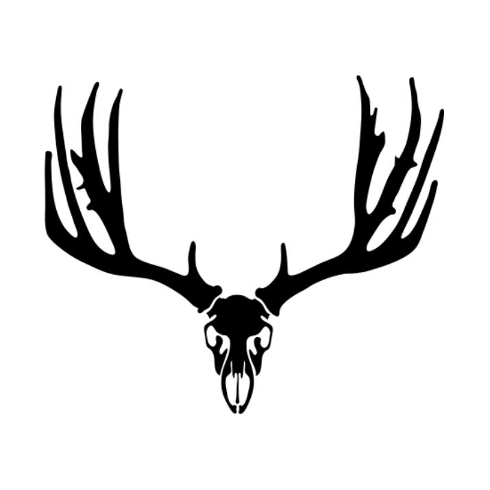 715x715 Scary Full Black Deer Skull With Bushy Horns Tattoo Design