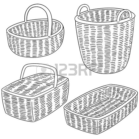 450x450 Drawing Wicker Basket Picnic Image Vector Illustration Eps 10